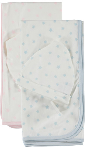 The Pottery Baby Hat & Blanket w/Stars - 60S19015-ST