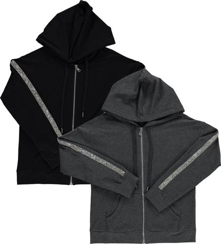BGDK Womens Embellished Sleeve Cotton Hoodie - SE-606
