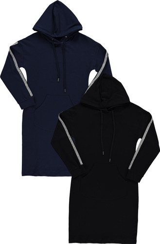 BGDK Womens Embellished Sleeve Cotton Hoodie Dress - SE-612
