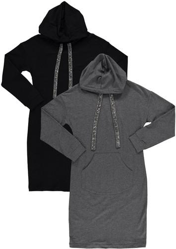 BGDK Womens Embellished Cotton Hoodie Dress - SE-604