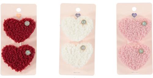 Faux Sherling Heart Clip Set - APK1679