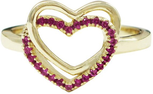 Overlapped Hearts Ring - 7R746-SS-GD-Ruby