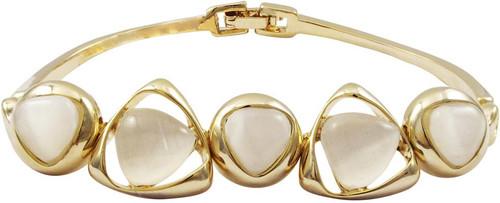 Ivory Cat Eye Stone Bangle Bracelet - B4388-B-GD-Wht