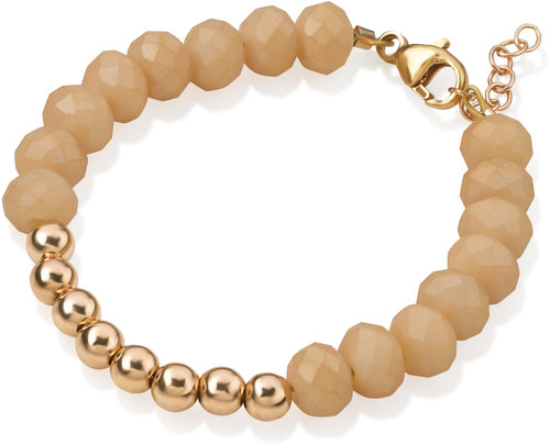 Crystal Dream Beige and Gold Bead Bracelet - B1916-S