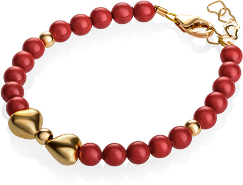 Red Pearls & Gold Bow Bracelet - B1903-S