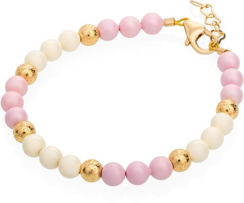 Pastel Pink and Cream Pearl Bracelet - B1818-S