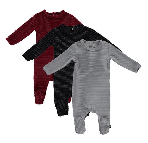 Baby Unisex Velour Striped Onesie - PC-ON5B