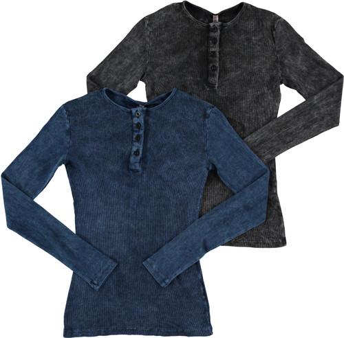 Womens Ribbed Stonewash Long Sleeve Henley T-shirt - 29337