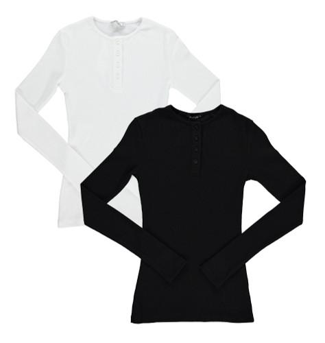 Kiki Riki Girls Ribbed Long Sleeve Henley T-shirt - 29340