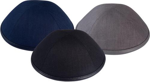 iKippah Yarmulka - Linen with Leather Rim