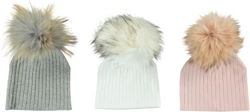 MC Ribbed Unisex Baby Pompom Hat - BR33-01S