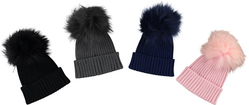MC Ribbed Knit Unisex Hat With Pompom- PM-192280N