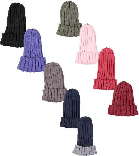Max Colors Unisex Ribbed Winter Hat with Snap for Pompom