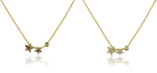 Girls CZ Filled Stars Adjustable Chain Necklace - NE4412B-GP