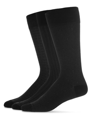 Assorted 3PP Men's Mercerized Cotton Socks Black