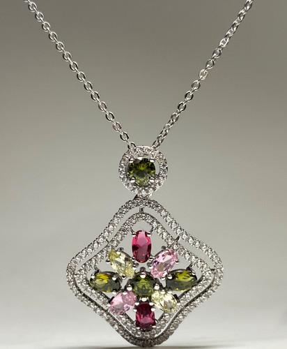 Rhinestone Square Necklace (SET83438PW)
