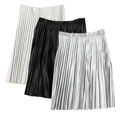 Women's Leather Pleated Skirt