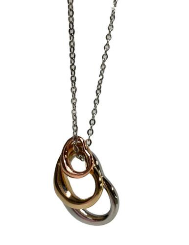 Triple Color Heart Necklace (N7088RMT)