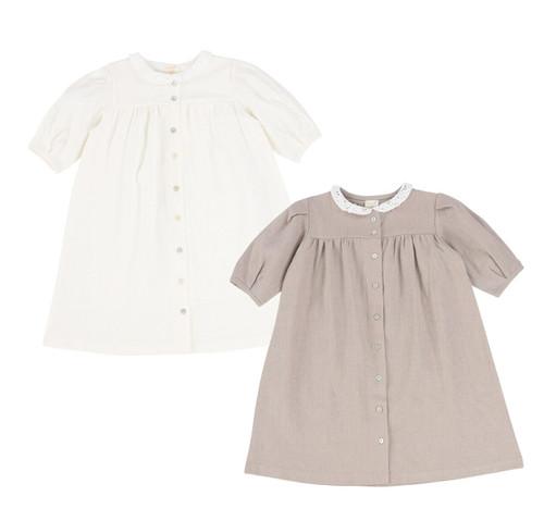 Three Quarter Sleeve Linen Collar Dress