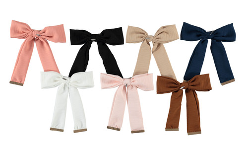 Crinkle Metal Clamp Bow Large Clip