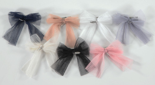 Accordion Pleated Tulle Bow Small Clip