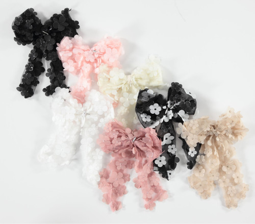 Scattered Flowers Bow Large Clip