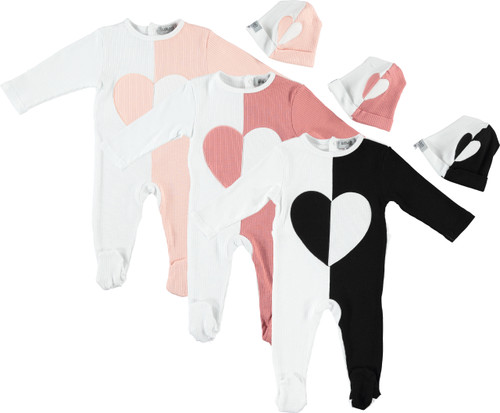 Ribbed ColorBlock Heart 2pc Stretchy Set