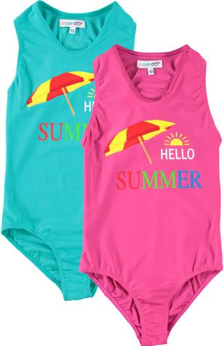 Girls Hello Summer Bathing Suit