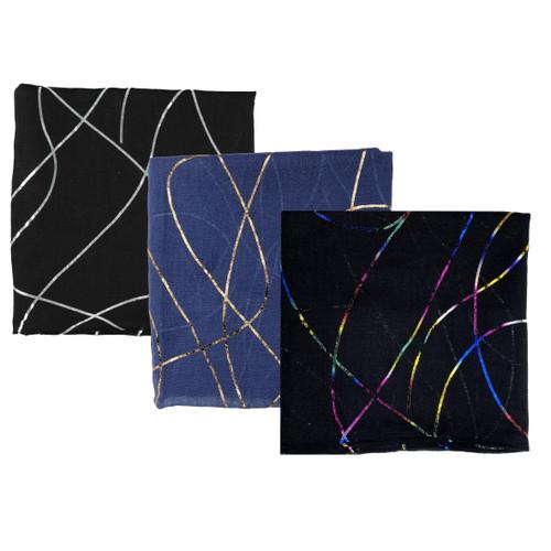 Black Foil Swirls Open Headscarves