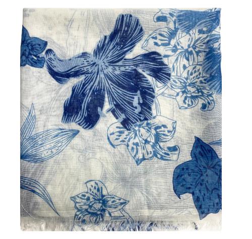 Riqki Floral Blues Opened Israeli Tichel - Y1221