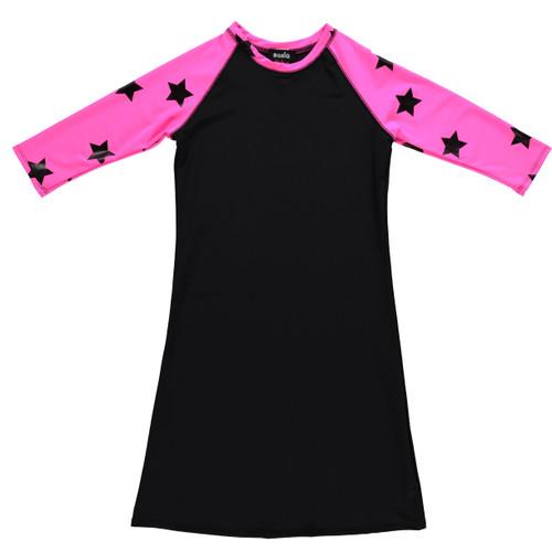 Girls Black/Fuchsia Stars Swim Dress Cover up