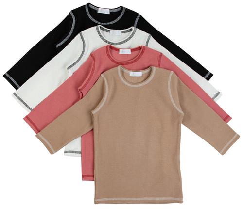 Contrast Seam 3/4 Sleeve T-Shirt