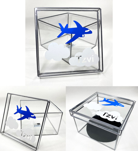 Vinyl Airplane With Name Clear Box.