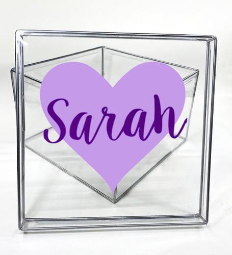 Girls Name On Heart  Clear Box