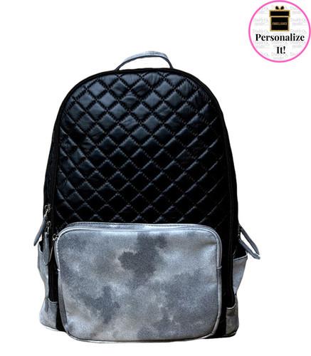 Bari Lynn Quilted Black & Silver Backpack - BLQBSB