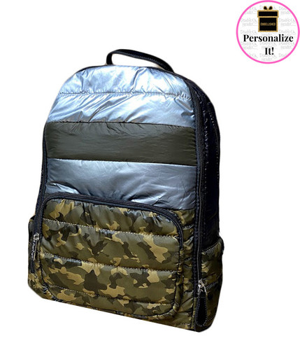 Bari Lynn Puffy Mixed Camo Backpack - BLPMCB
