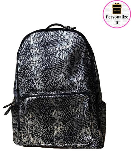 Bari Lynn Gunmetal Python Backpack - BLGPB