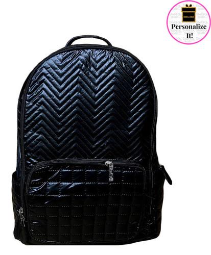 Bari Lynn Black Quilted Chevron Backpack - BLBQCB