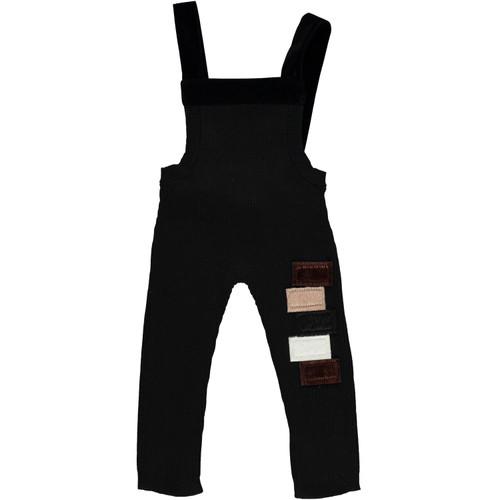 Baby Velvet Patches Black Knit Overalls