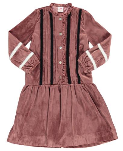 Girls Velour Stripe Shabbos Dress