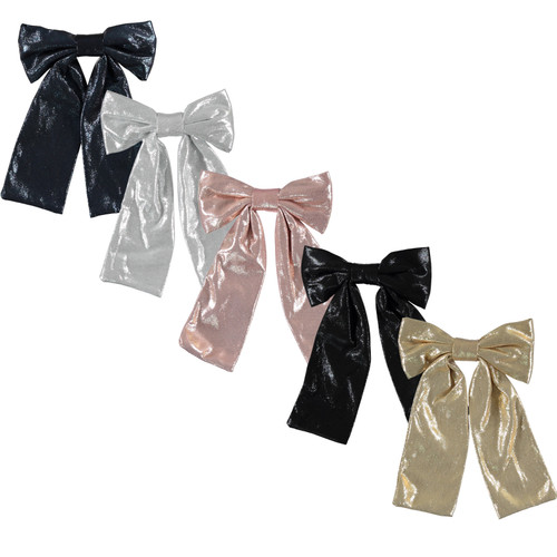 Girls Large Metallic Bow Tails Clip