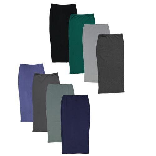BGDK Women's Ribbed Straight and Narrow Skirt