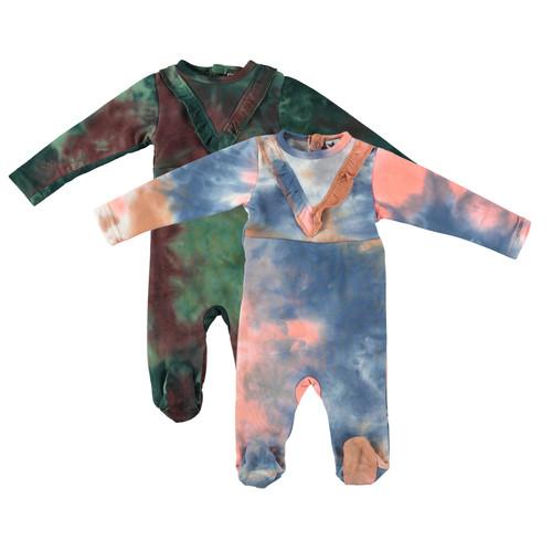 Baby Girls Ruffle Neck Tie Dye Cotton Stretchy