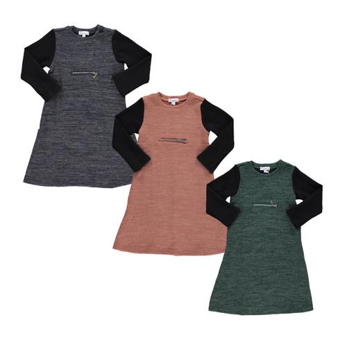 Girls Rib Knit Zipper Dress