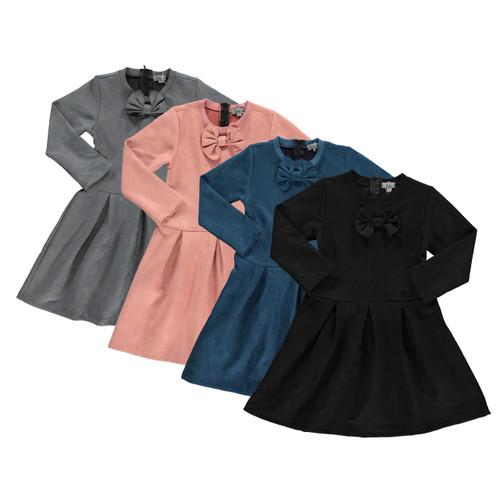 Girls Suede Flary w/Bow Shabbos Dress
