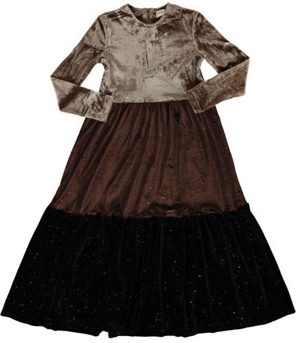 Girls Tri Color Velour Shabbos Robe