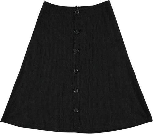 Women's Ribbed A-line Skirt w/Buttons