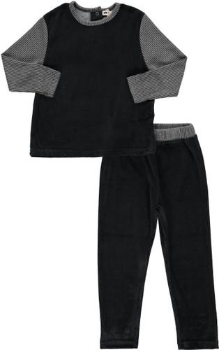 Boys Velvet With Ribbed Sleeves 2Pc Pajama