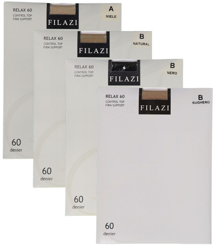 Filazi Womens Relax 60 Denier Control Top Firm Support Pantyhose