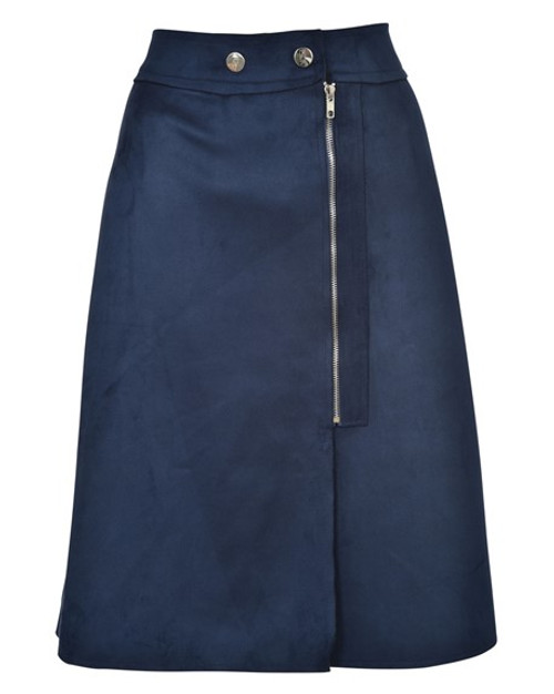 BGDK Ladies Buttoned Suede Pencil Skirt